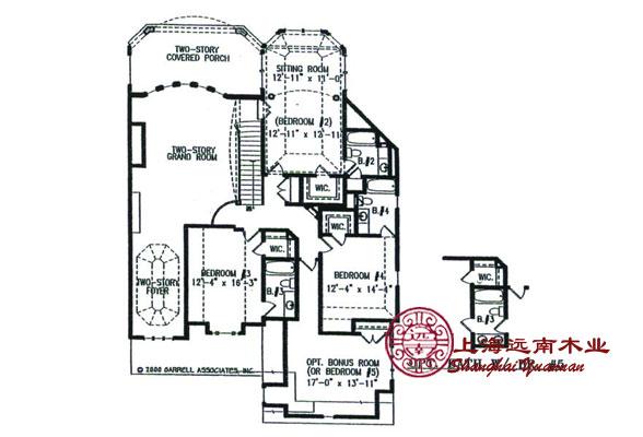 404平米美式木别墅 木结构房屋特点: 1.使用寿命长 世界许多地方,100多年历史的木结构民用及商用建筑随处可见,但一般钢筋混凝土房屋建筑,经过50年左右就需要进行重建。远南木屋从加拿大进口的优质规格材,从加拿大或德国进口的OSB板,从澳大利亚进口的MITEK金属紧固件,加上美国现代住宅系统的结构保障,使用寿命大大增加。 2.